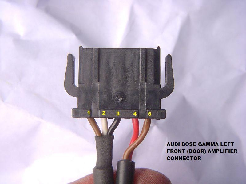 Quattroworld forums need help understanding bose amp wiring i used my dmm set to 20v dc with the black probe touching pin 5 of the harness connector and the red touching 1 through 4 of the harness connector cheapraybanclubmaster Images