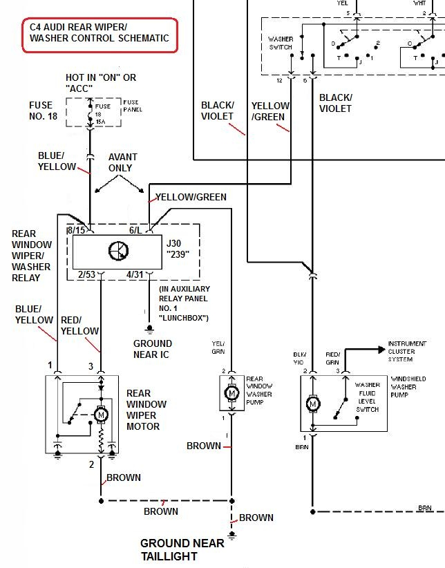 C4RearWiperWasherElectricalSchematic 2007 audi a6 wire harness audi wiring diagrams for diy car repairs audi q7 rear fuse box diagram at crackthecode.co
