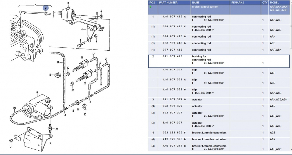 CruiseControlMechanicalPNsforAANwithBushing quattroworld com forums some cruise control mechanical pns Ford Cruise Control Wiring Diagram at edmiracle.co