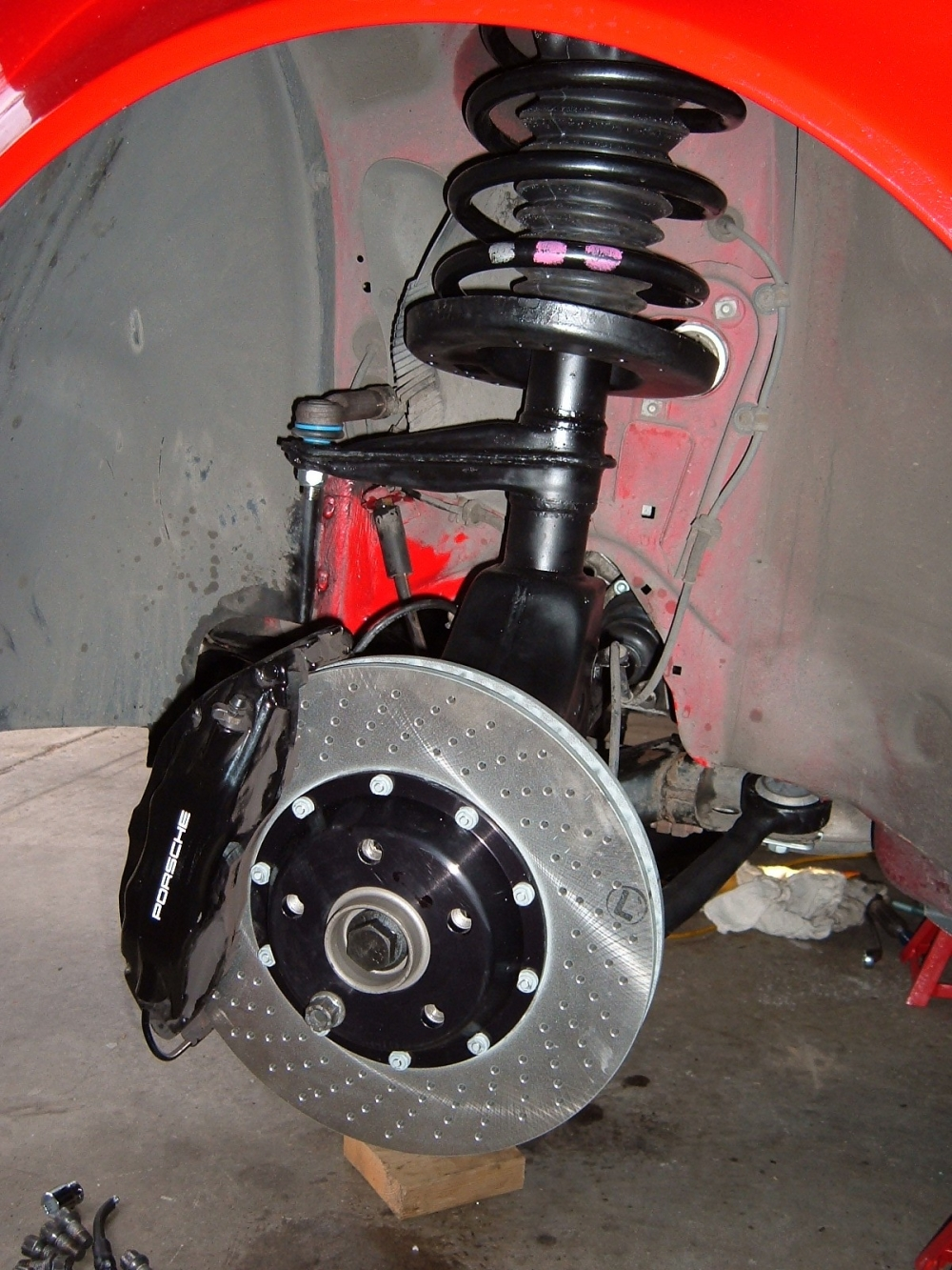 Front suspension installed with Big Blacks;