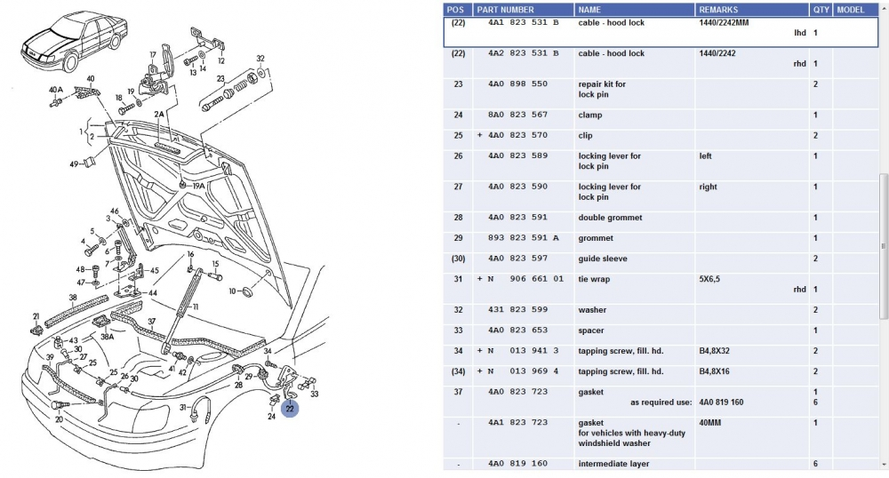 audi a6 hood latch diagram