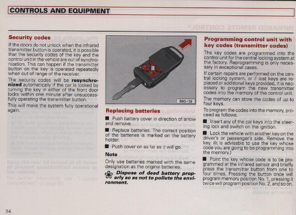 Owner s manual include info about the ir keyless system or the defa